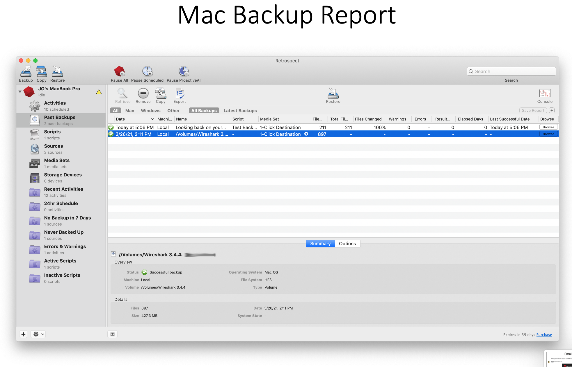 Retrospect 2021 reporting mac
