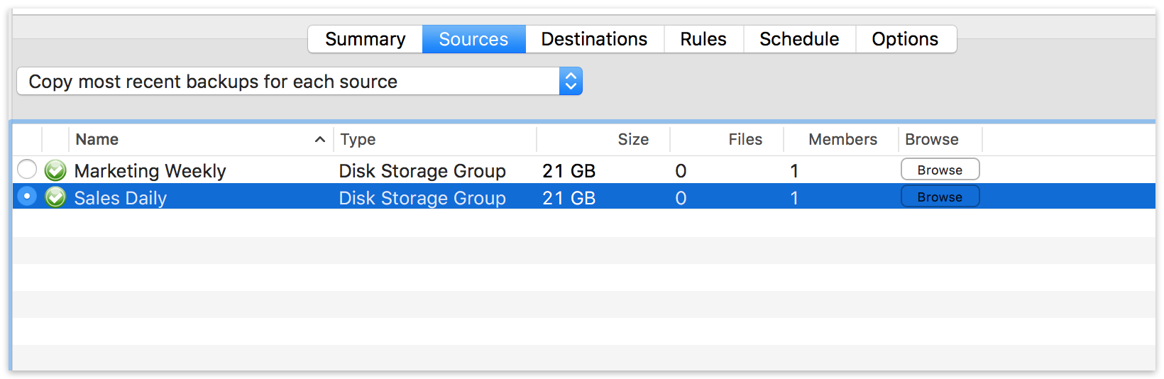 Storage groups mac transfer backup