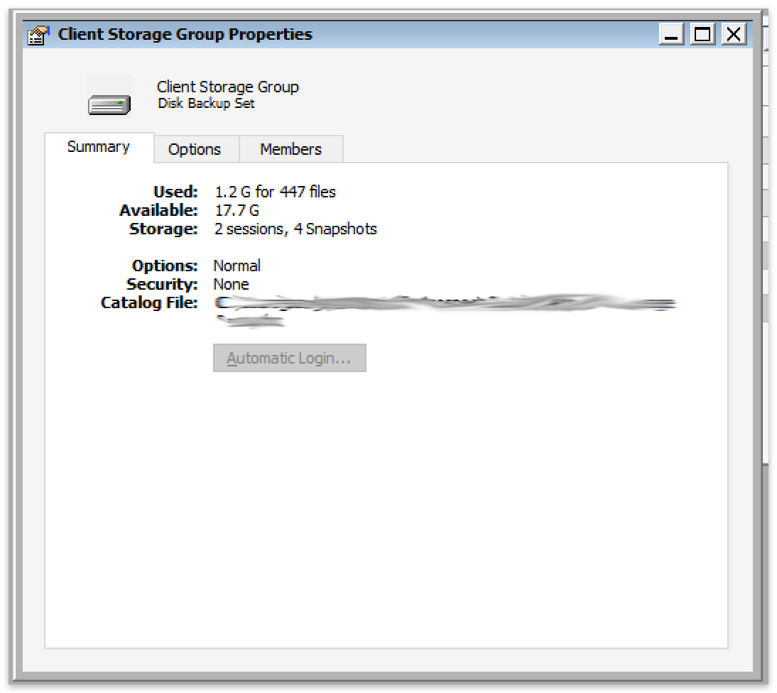 Storage groups win group properties