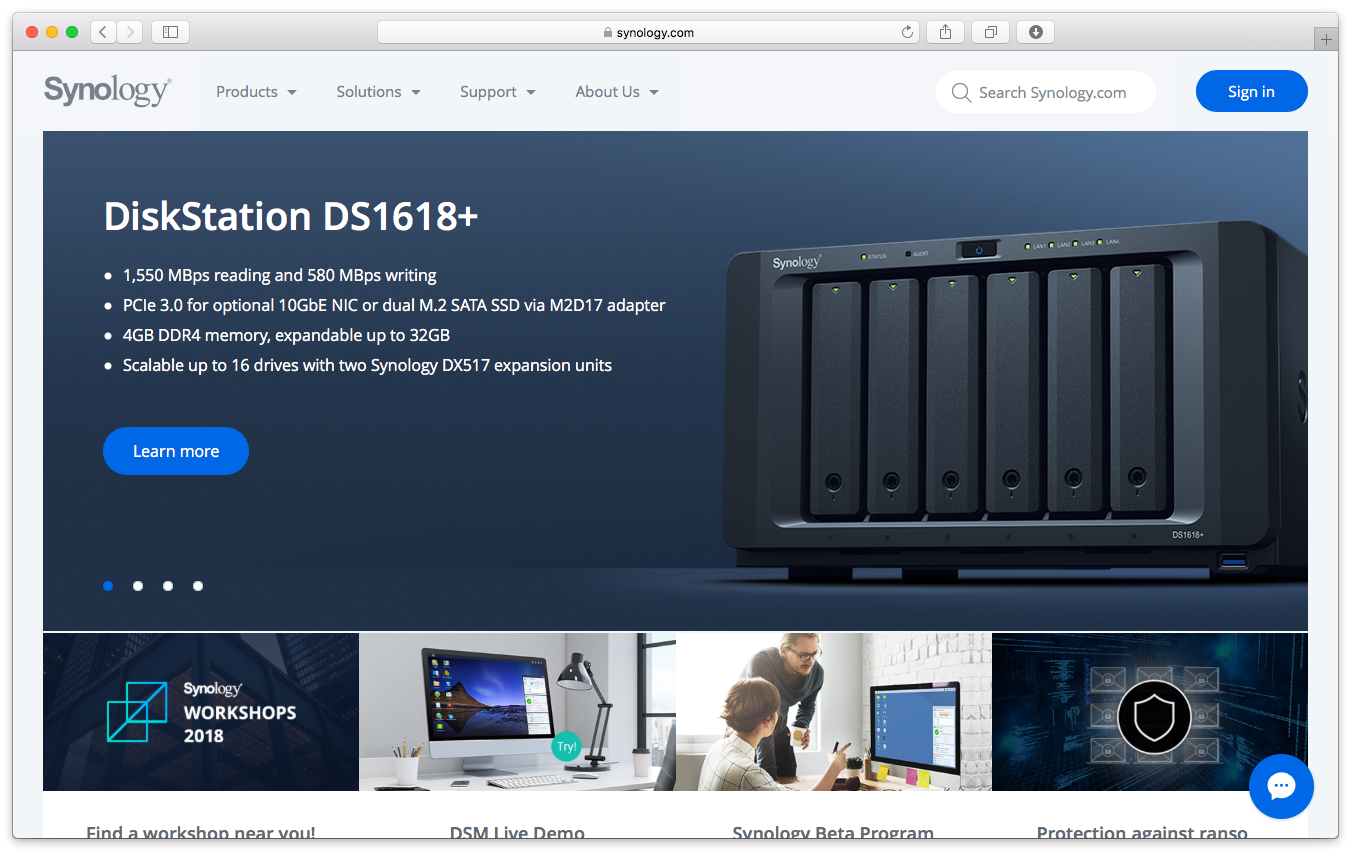 Synology homepage