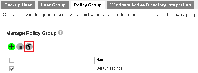 Duplicate a new policy group