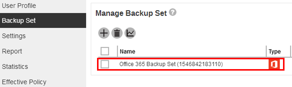 backup set on server
