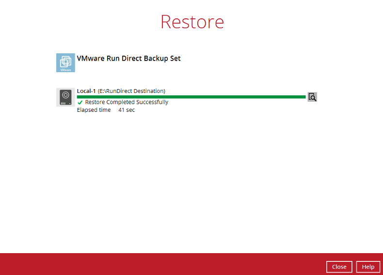 Virtual run direct restore1
