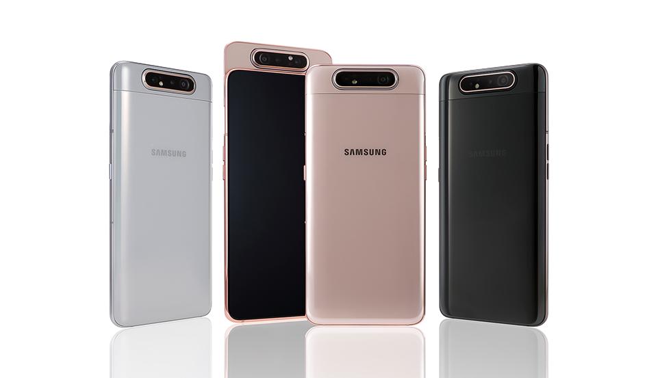 Samsung Galaxy A80 with a 48MP main camera and rotating camera array