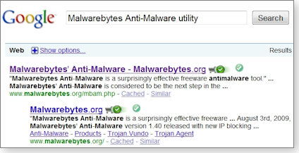 Google results minus malware ads