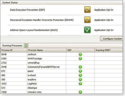 EMET's simple graphical interface