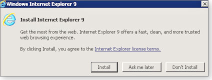 Accepting IE 9 installation