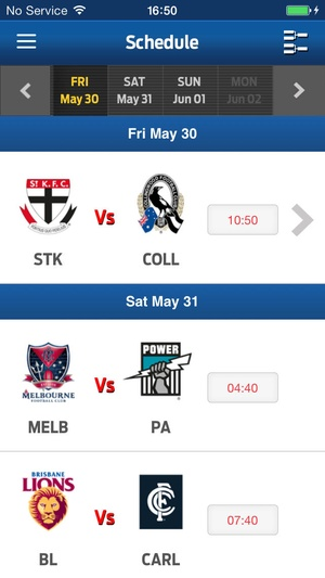 Screenshot Watch AFL Global Pass on iPhone