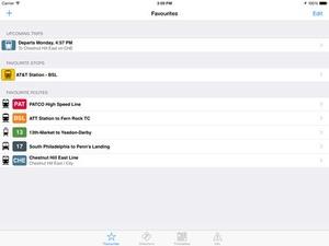 Screenshot TransitTimes Philly on iPad