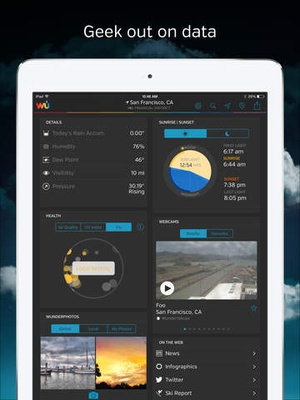 Screenshot Weather Underground on iPad