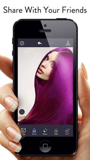 Screenshot Hair Color Effects on iPhone