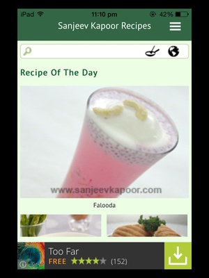 Screenshot Sanjeev Kapoor's Recipes on iPad