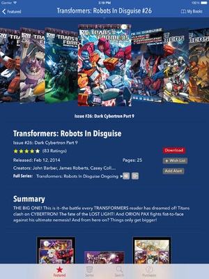 Screenshot Transformers Comics on iPad