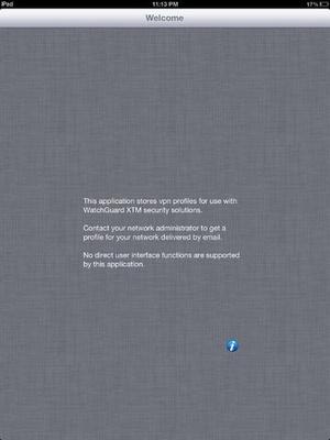 Screenshot WatchGuard Mobile VPN on iPad