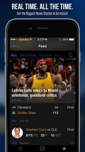Screenshot theScore on iPhone