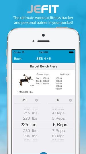 Screenshot JEFIT Workout on iPhone