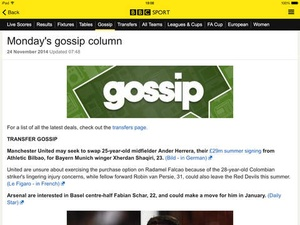 Screenshot BBC Sport on iPad