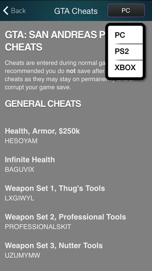 Screenshot Pocket Edition for Grand Theft Auto San Andreas Cheats on iPhone
