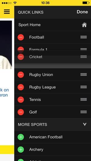 Screenshot BBC Sport on iPhone
