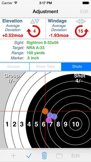 Screenshot Shootility SightSet on iPhone