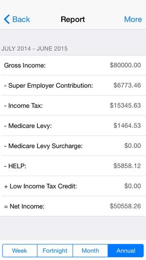 Screenshot Income Tax Calculator (Aussie & NZ) on iPhone