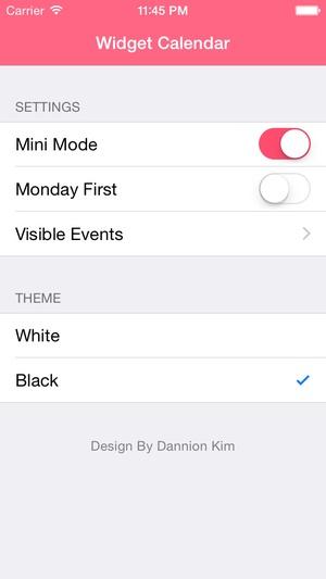 Screenshot Widget Calendar on iPhone