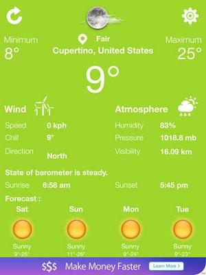 Screenshot exact weather on iPad