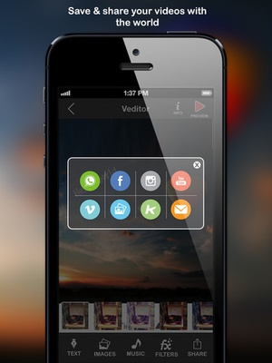 Screenshot Veditor: Video editor and movie maker studio for YouTube and Instagram and Vine on iPad
