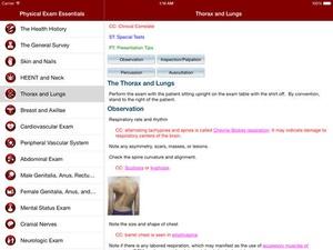 Screenshot Physical Exam Essentials on iPad