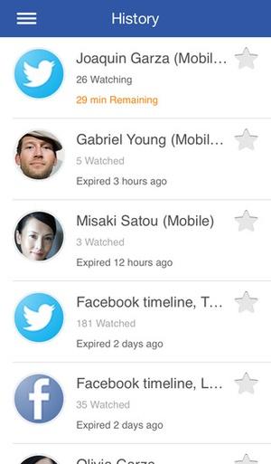 Screenshot Glympse on iPhone