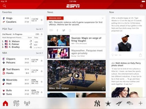 Screenshot ESPN SportsCenter on iPad