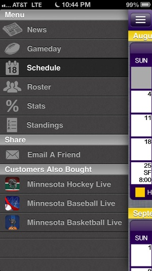 Screenshot Minnesota Football Live on iPhone