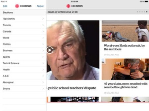 Screenshot CBC News on iPad