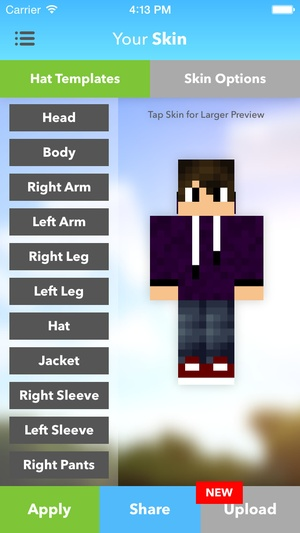 Screenshot Skins Pro Creator for Minecraft on iPhone
