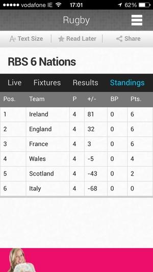 Screenshot RTÉ News Now on iPhone