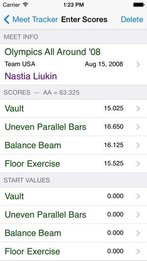 Screenshot Gymnastics Meet Tracker on iPhone