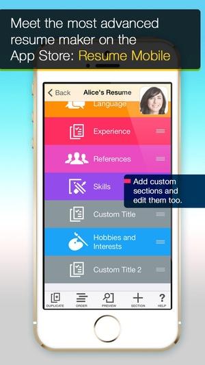 Screenshot Resume Mobile Pro on iPhone