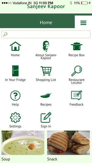 Screenshot Sanjeev Kapoor's Recipes on iPhone
