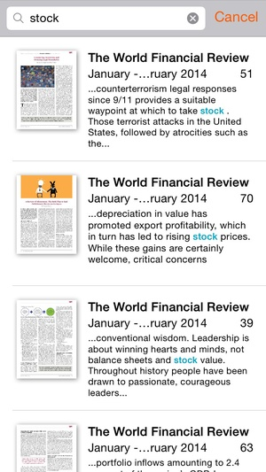 Screenshot The World Financial Review on iPhone