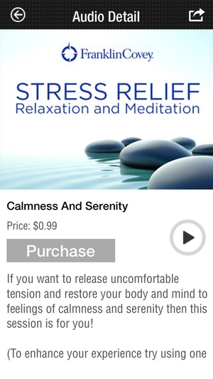 Screenshot Franklin Covey Stress Relief, Relaxation, Meditation App on iPhone