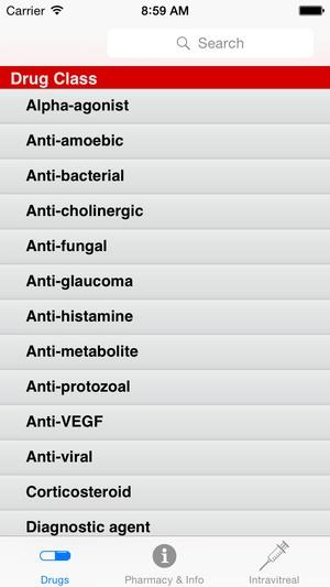 Screenshot Sydney Eye Hospital Pharmacopoeia on iPhone