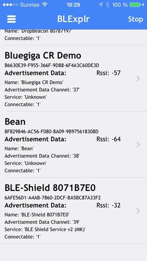 Screenshot BLExplr on iPhone