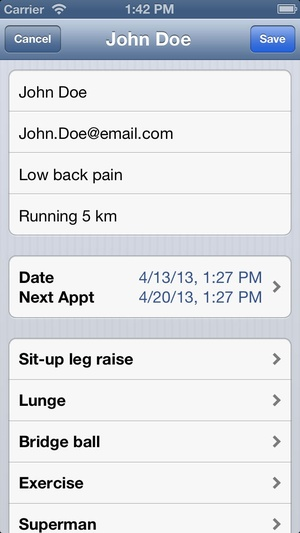 Screenshot Physio2Go on iPhone