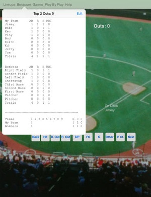 Screenshot touchScore Baseball Scorecard on iPad