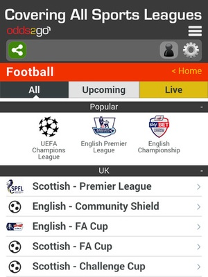 Screenshot Odds2Go Sports Betting App on iPad
