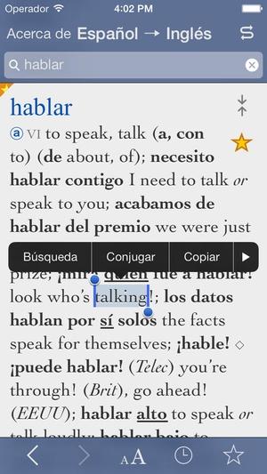 Screenshot Collins Spanish on iPhone