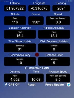 Screenshot GPS Device Data on iPad