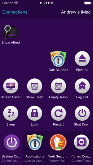 Screenshot Alfred Remote on iPhone