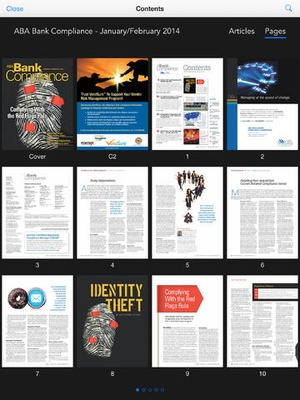 Screenshot ABA Bank Compliance magazine on iPad