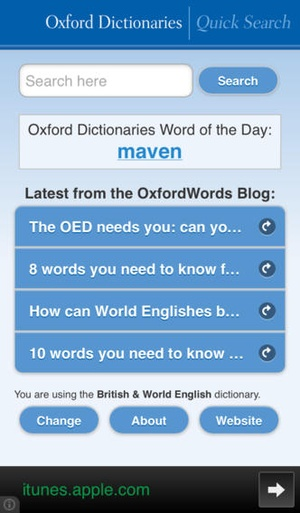 Screenshot Oxford Dictionaries Quick Search on iPhone